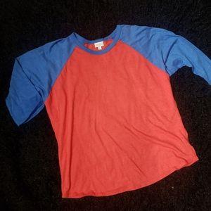 Lularoe Randy baseball shirt red blue 3XL e